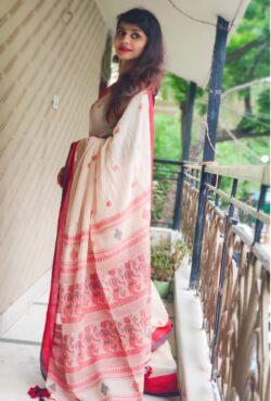 Khadi cotton with baluchari motifs