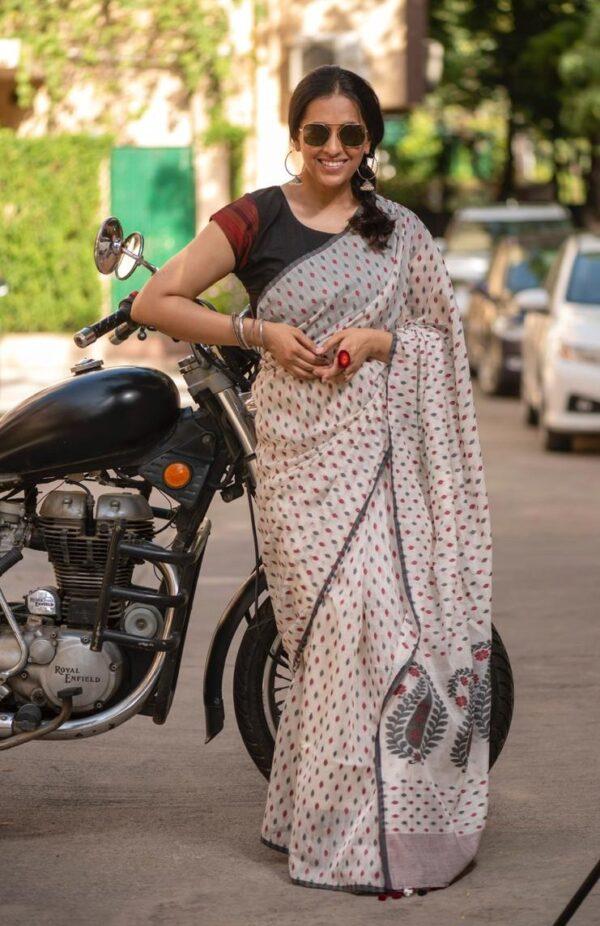 Khadi Silk with Jamdani motifs
