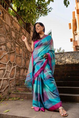 Khadi cotton saree with checks