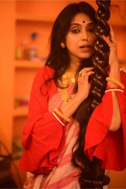 Khadi Cotton Red stripe saree