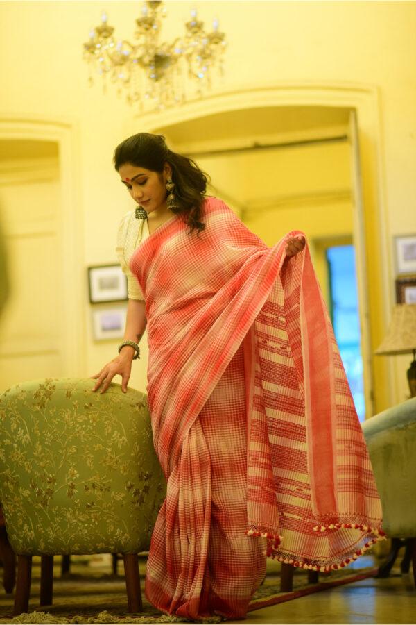 Red Checks Khadi Cotton Saree