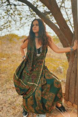 Ajrakh on Chanderi Silk