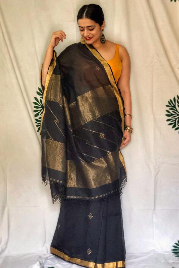 Khadi cotton with zari work