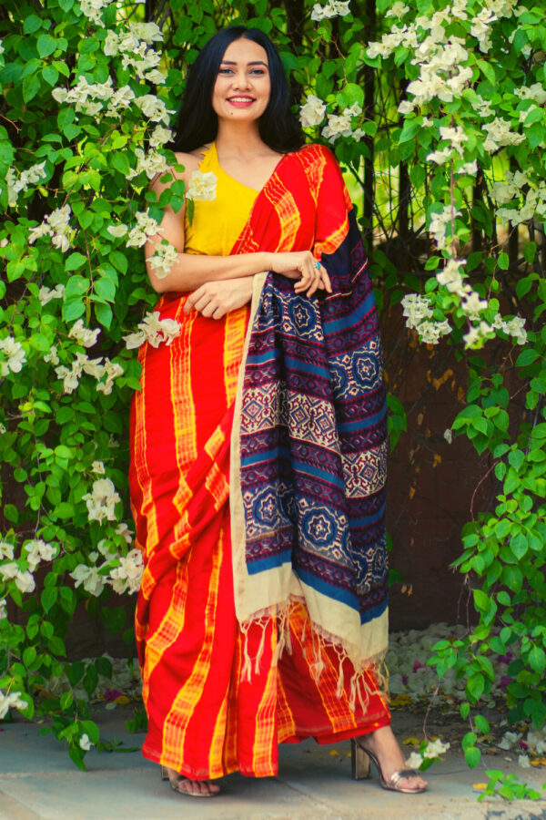 Ajrakh Shibori Saree