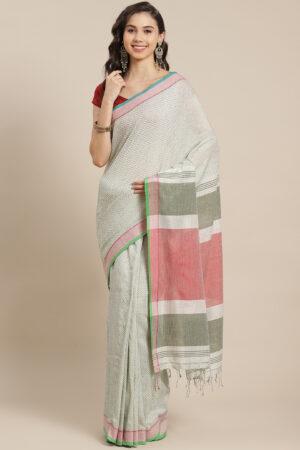 Khadi cotton threadwork saree